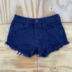 Brandy Melville Button Fly Denim Shorts Navy Blue